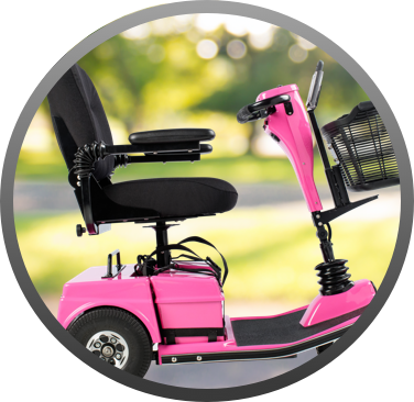 Side view of a pink scooter